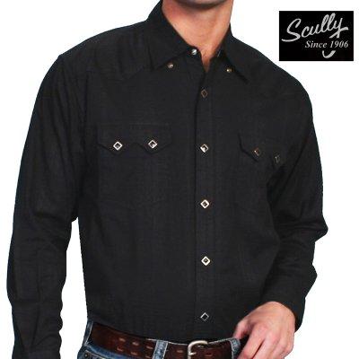 画像1: スカリー ウエスタン シャツ(長袖/ブラック)/Scully Long Sleeve Western Shirt Black(Men's)