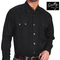 画像1: スカリー ウエスタン シャツ(長袖/ブラック)/Scully Long Sleeve Western Shirt Black(Men's) (1)