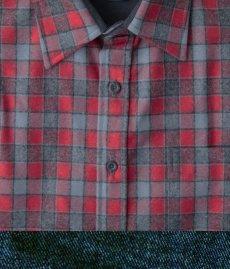 画像2: ペンドルトン ウール シャツ・フィッテッド ロッジシャツ(長袖・グレー・レッドチェック)/Pendleton Fitted Lodge Shirt (Grey/Red Check) (2)