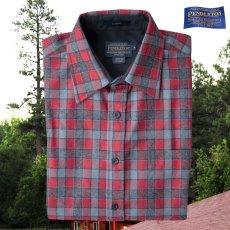 画像1: ペンドルトン ウール シャツ・フィッテッド ロッジシャツ(長袖・グレー・レッドチェック)/Pendleton Fitted Lodge Shirt (Grey/Red Check) (1)