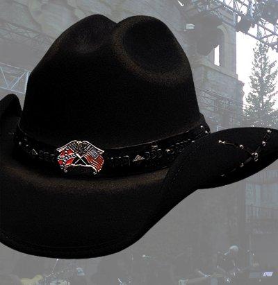 画像2: ブルハイド カウボーイハット(南軍旗・星条旗)/Bullhide Western Wool Hat(Southern Rizin'/Black)
