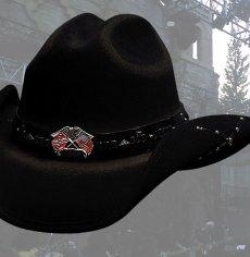 画像2: ブルハイド カウボーイハット(南軍旗・星条旗)/Bullhide Western Wool Hat(Southern Rizin'/Black) (2)