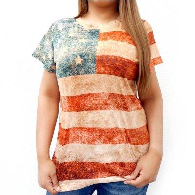 画像1: レディース ウエスタン 半袖Tシャツ(星条旗)/American Flag Short Sleeve T-shirt(Women's)