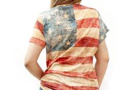画像2: レディース ウエスタン 半袖Tシャツ(星条旗)/American Flag Short Sleeve T-shirt(Women's) (2)