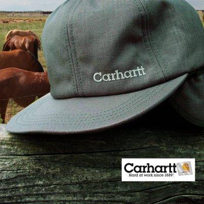 画像1: カーハート ロゴ イヤーフラップ キャップ(グレー)/Carhartt Cap(Logo/Gray)
