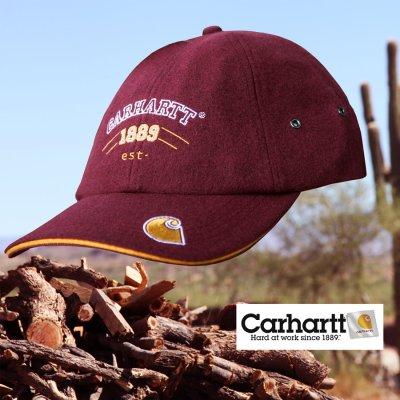 画像1: カーハート ロゴ ウール ワークキャップ(ダークレッド)/Carhartt Wool Work Cap(Dark Red)