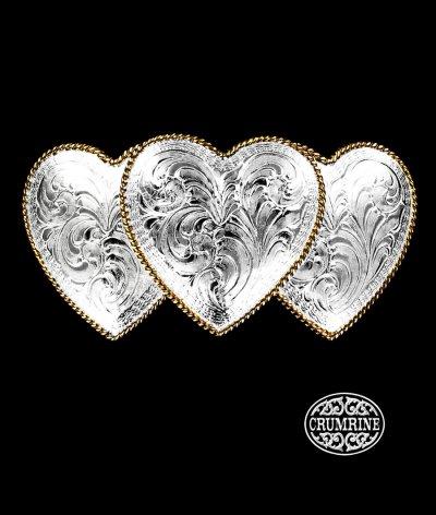 画像1: クラムライン トリプル ハート ベルト バックル(シルバー・ゴールド)/Crumrine Triple Heart Belt Buckle(Silver/Gold)