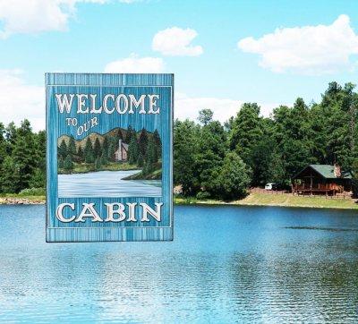 画像2: ログキャビン ティンサイン/Tin Sign WELCOME TO OUR CABIN