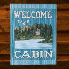 画像1: ログキャビン ティンサイン/Tin Sign WELCOME TO OUR CABIN (1)