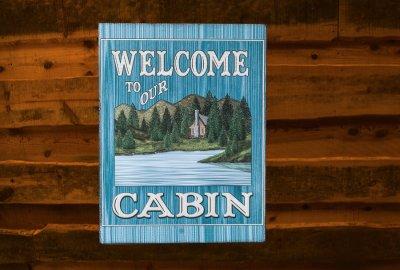 画像1: ログキャビン ティンサイン/Tin Sign WELCOME TO OUR CABIN