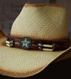 画像2: ハンドウーブン パナマ スターロングホーンコンチョ レザーバンド ストローハット(ナチュラル)/Western Straw Hat (2)