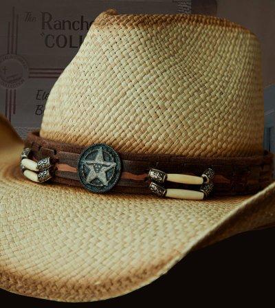 画像2: ハンドウーブン パナマ スターロングホーンコンチョ レザーバンド ストローハット(ナチュラル)/Western Straw Hat