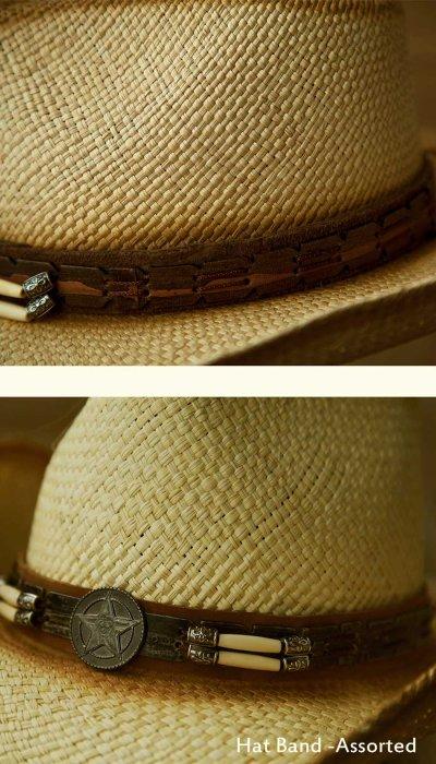 画像3: ハンドウーブン パナマ スターロングホーンコンチョ レザーバンド ストローハット(ナチュラル)/Western Straw Hat