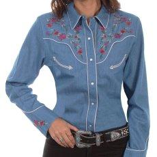 画像1: スカリー ローズ刺繍 デニム ウエスタン シャツ(長袖/デニム)/Scully Long Sleeve Western Shirt(Women's) (1)