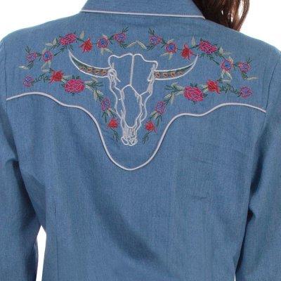 画像3: スカリー ローズ刺繍 デニム ウエスタン シャツ(長袖/デニム)/Scully Long Sleeve Western Shirt(Women's)