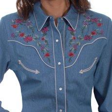 画像2: スカリー ローズ刺繍 デニム ウエスタン シャツ(長袖/デニム)/Scully Long Sleeve Western Shirt(Women's) (2)