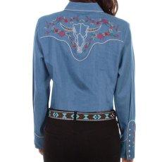 画像4: スカリー ローズ刺繍 デニム ウエスタン シャツ(長袖/デニム)/Scully Long Sleeve Western Shirt(Women's) (4)