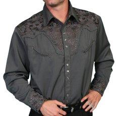 画像1: スカリー ウエスタン 刺繍 シャツ(長袖/チャコール)/Scully Long Sleeve Embroidered Western Shirt(Men's) (1)