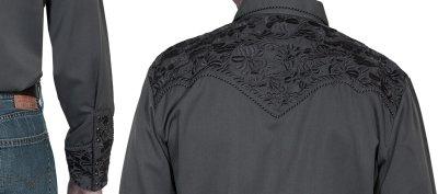 画像2: スカリー ウエスタン 刺繍 シャツ(長袖/チャコール)/Scully Long Sleeve Embroidered Western Shirt(Men's)