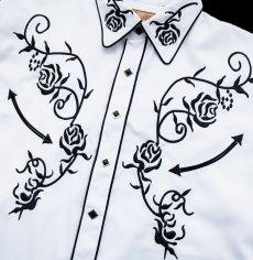 画像3: スカリー ウエスタン 刺繍 シャツ(長袖/ホワイト・ブラック)/Scully Long Sleeve Embroidered Western Shirt (3)