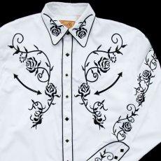 画像2: スカリー ウエスタン 刺繍 シャツ(長袖/ホワイト・ブラック)/Scully Long Sleeve Embroidered Western Shirt (2)