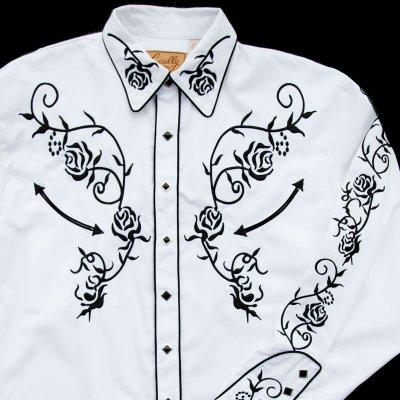 画像2: スカリー ウエスタン 刺繍 シャツ(長袖/ホワイト・ブラック)/Scully Long Sleeve Embroidered Western Shirt