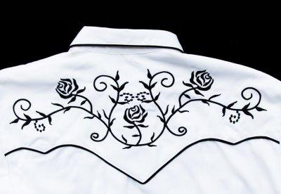 画像3: スカリー ウエスタン 刺繍 シャツ(長袖/ホワイト・ブラック)/Scully Long Sleeve Embroidered Western Shirt
