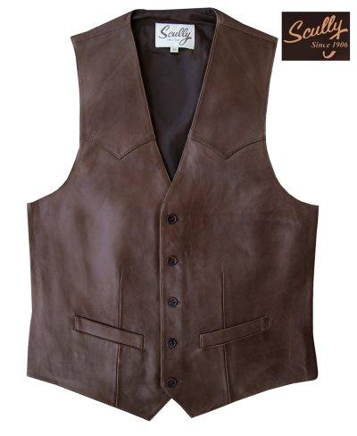 画像1: スカリー ウエスタン レザー ベスト(チョコレートブラウン)/Scully Western Lamb Leather Vest(Chocolate)