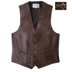 画像1: スカリー ウエスタン レザー ベスト(チョコレートブラウン)/Scully Western Lamb Leather Vest(Chocolate) (1)