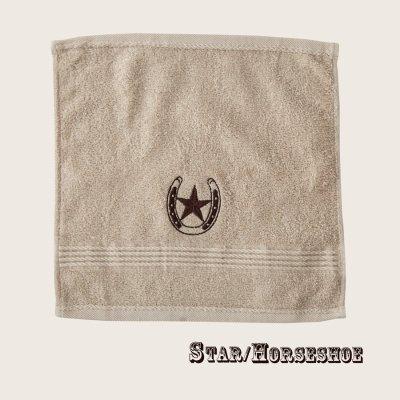 画像1: ウエスタン 刺繍 ウォッシュタオル・ハンドタオル スター&ホースシュー(カーキ)/Western Star&Horseshoe Wash Cloth(Khaki)