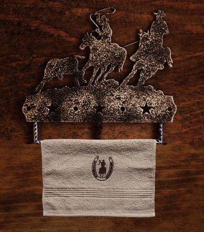 画像2: ウエスタン 刺繍 ウォッシュタオル・ハンドタオル カウボーイ&ホースシュー(カーキ)/Cowboy&Horseshoe Wash Cloth(Khaki)