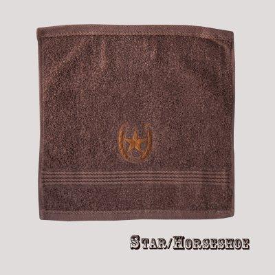 画像1: ウエスタン 刺繍 ウォッシュタオル・ハンドタオル カウボーイ&ホースシュー(ブラウン)/Cowboy&Horseshoe Wash Cloth(Chocolate)
