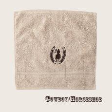 画像1: ウエスタン 刺繍 ウォッシュタオル・ハンドタオル カウボーイ&ホースシュー(カーキ)/Cowboy&Horseshoe Wash Cloth(Khaki) (1)