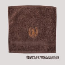 画像1: ウエスタン 刺繍 ウォッシュタオル・ハンドタオル カウボーイ&ホースシュー(ブラウン)/Cowboy&Horseshoe Wash Cloth(Chocolate) (1)