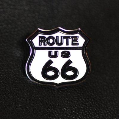 画像1: ルート66  ピンバッジ ホワイト・ブラック/Pin Route 66