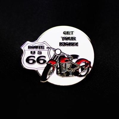 画像1: ルート66  ピンバッジ モーターサイクル・レッド GET YOUR KICKS!/Pin Route 66