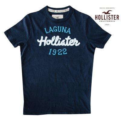 画像1: ホリスター ラグナビーチ アップリケロゴ&刺繍 半袖 Tシャツ ネイビー/Hollister Laguna Beach Short Sleeve T-Shirt (Navy)