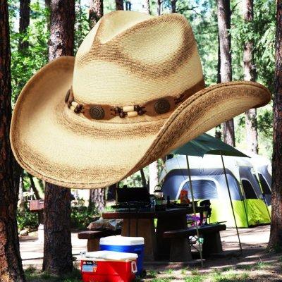 画像1: ウエスタン ストローハット(ナチュラル・パーム)/Western Straw Hat