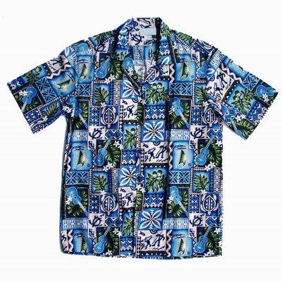 画像1: アロハシャツ ウクレレ・ハワイ(ブルー)L/Aloha Shirt