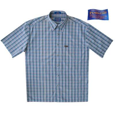 画像1: ペンドルトン 半袖 シャツ(ブループラッド)/Pendleton Plaid Shortsleeve Shirt(Blue)