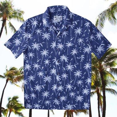 画像1: パームツリー アロハシャツ(ブルー・ホワイト)/Short Sleeve Hawaiian Shirt(Blue)