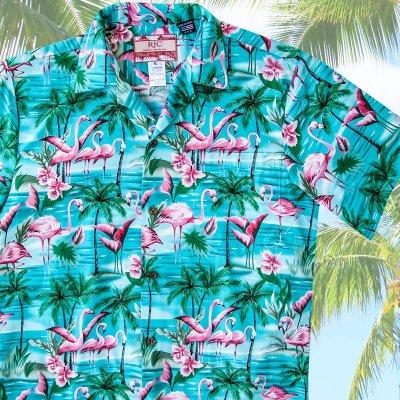 画像1: RJC ロバート・J・クランシー アロハシャツ フラミンゴ・パームツリー(アクア)/RJC ROBERT J. CLANCEY Aloha Shirt