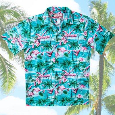 画像2: RJC ロバート・J・クランシー アロハシャツ フラミンゴ・パームツリー(アクア)/RJC ROBERT J. CLANCEY Aloha Shirt