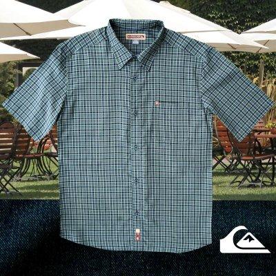 画像1: クイックシルバー 半袖 シャツ(グリーン・ブルー)/Quiksilver Tencel Plaid Shortsleeve Shirt(Green/Blue)