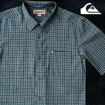 画像2: クイックシルバー 半袖 シャツ(グリーン・ブルー)/Quiksilver Tencel Plaid Shortsleeve Shirt(Green/Blue)