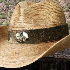 画像2: 馬毛革&牛革 カウボーイ ストローハット(パームファイバー)/Western Straw Hat (2)