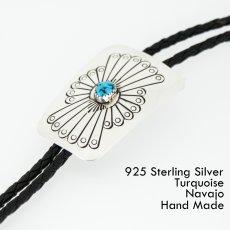 画像1: ネイティブアメリカン ナバホ族 シルバー&ターコイズ ハンドメイド ボロタイ/Navajo Sterling Silver&Turquoise Bolo Tie (1)
