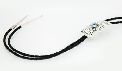 画像2: ネイティブアメリカン ナバホ族 シルバー&ターコイズ ハンドメイド ボロタイ/Navajo Sterling Silver&Turquoise Bolo Tie