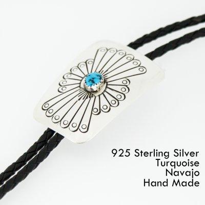 画像1: ネイティブアメリカン ナバホ族 シルバー&ターコイズ ハンドメイド ボロタイ/Navajo Sterling Silver&Turquoise Bolo Tie
