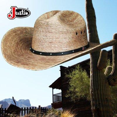 画像2: ジャスティン パームストロー カウボーイハット(ナチュラル)/Justin Western Straw Hat